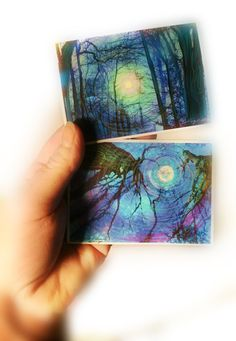 Fire fly summer night and winter sunrise, aceo set of two, originals, tree aceo, nature, landscape, painting, drawing added on Etsy, $18.00