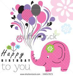 Happy birthday elephant vector