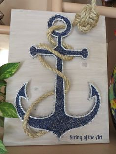 "String Art Kit, DIY Crafts Kit, Anchor String Art. This beautiful Kit comes with all the string, nails, instructions, whitewashed stained wood board, and the rope with the monkey fist knot tied! Visit String of the Art's Etsy Shop and use the Coupon Code ""PinLove"" to save 10% off the purchase price. Anchor String Art, Nautical Decor, Anchor Decor, Home Decor, Crafts Project, Crafts Idea, Nautical Idea"
