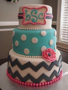 Chevron and Monogram Birthday Cake. Love this cake! Fancy Cakes, Cute Cakes, Pretty Cakes, Beautiful Cakes, Amazing Cakes, First Birthday Cakes, Birthday Cake Girls, 13th Birthday, Chevron Birthday