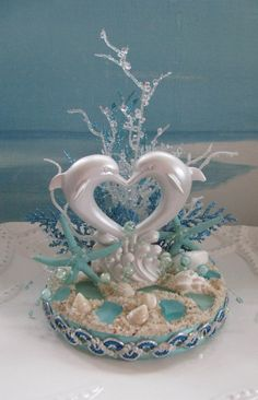 Dolphin Beach Wedding Cake Topper~~ by CeShoreTreasures