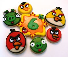 Angry Birds decorated cookies for Cooper's 6th birthday party www.facebook.com/cookiesbycharity
