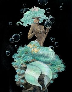 Mint+Green+Mermaid++20cm+x+25cm+Original+Painting++by+reneenault,+$250.00
