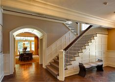 Beautiful staircase.  Love the trim,
