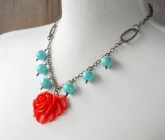 Whimsical Rose and Vintage Turquoise Brass by LoveDesignsBoutique