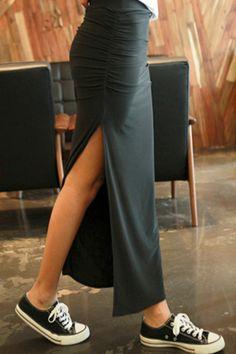 Slit Pleated Maxi Skirt - OASAP.com