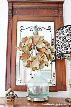 foyer table magnolia wreath @Allison Wilkes