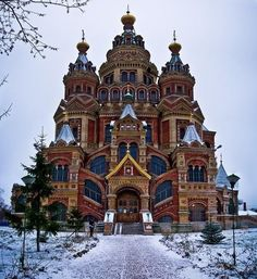 Saints Peter and Paul Cathedral at Peterhof, Russia: Russian Architecture, Sacred Architecture, Religious Architecture, Church Architecture, Concept Architecture, Classical Architecture, Beautiful Architecture, Architecture Details, Beautiful Castles