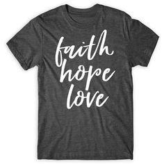 Faith Hope Love Unisex Tee Flowy Raglan Tee Flowy Long Sleeve Tee... (56 BRL) ❤ liked on Polyvore featuring tops, black, women's clothing, long short sleeve shirts, racerback tank top, raglan shirts, low v neck shirt and racerback tank