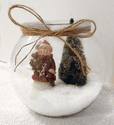 DIY Snow Bowl with fibre optic tree. #Christmas #ChristmasDecor #ChristmasDIY