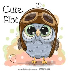 Cute Owl in a pilot hat. Cute cartoon Owl in a pilot hat royalty free illustration Cute Owl Cartoon, Bat Vector, Owl Wallpaper, Paper Owls, Christmas Drawing, Cute Animal Drawings, Cute Chibi, Owl Art, Cross Stitch Patterns
