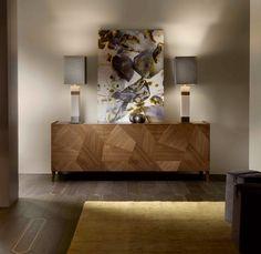 Condo Interior Design, Home Room Design, Dining Room Design, Sideboard Dekor, Home Decor Furniture, Furniture Design, Geometric Furniture, Living Room Decor, Console