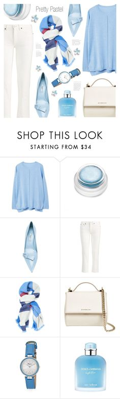"""""""Pretty Pastel"""" by ames-ym ❤ liked on Polyvore featuring MANGO, rms beauty, Prada, Polo Ralph Lauren, J.McLaughlin, Givenchy, Salvatore Ferragamo, D&G and pastelsweaters"""