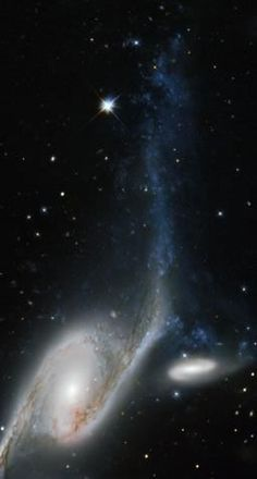 This picture, taken by the NASA/ESA Hubble Space Telescope's WFPC2, shows a galaxy known as NGC 6872 in the constellation of Pavo (The Peacock). Its unusual shape is caused by its interactions with the smaller galaxy that can be seen beside NGC 6872.