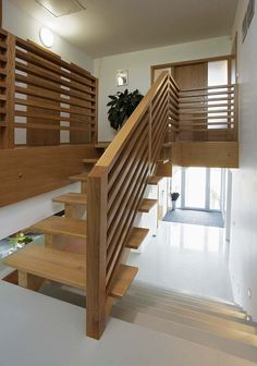 Indoor Stair Railing, Wood Railings For Stairs, Staircase Railing Design, Interior Stair Railing, Stairs And Doors, Staircase Handrail, Staircase Remodel, Staircase Makeover, 1970s House