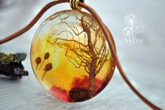 resin necklace Real flowers Necklace   terrarium by VyTvir on Etsy