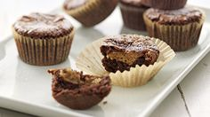 Peanut Butter Brownie Cupcakes - Grandparents.com -Made with a box of brownie mix plus a handful of other ingredients.
