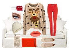 """""""Christmas!!"""" by froggish2005 ❤ liked on Polyvore featuring J Brand, Express, Gucci, Icebreaker, Maybelline, Casetify and Essie"""