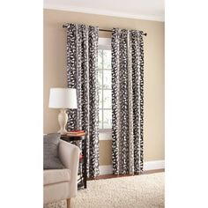 mainstays canvas milan print curtain panel set of 2 black - Walmart Curtains