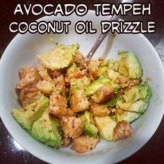 HEALTHY & EASY VEGAN SNACK: baked local #organic #nongmo #tempeh and added big chunks of avocado.. then drizzled #coconutoil + homemade salad dressing (balsamic, olive oil, Celtic Sea Salt, pepper, lemon, onions, #coconutsugar, mustard, tamari) = BIG YUM! Great way to ingest #coconut oil, protein, B12 vitamins, #healthy fats and omegas. ~~~ #vegan #healthy #organic #clean #vegan #glutenfree #coconuts #cocooil #coco