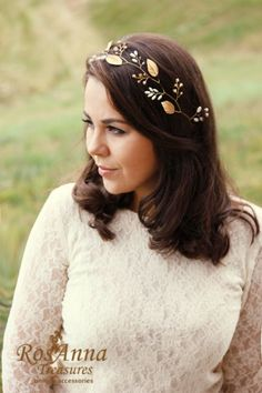 Bridal Crystals Hair Vine Headband Gold leaves Rhinestones Tiara Crown Petals Leaf Bridesmaid Bridal Hair piece Headpiece Wedding