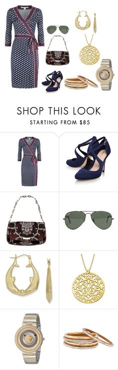 """""""Untitled #5243"""" by billyblaze ❤ liked on Polyvore featuring Diane Von Furstenberg, Miss KG, Gucci, Ray-Ban, Versace and Nest"""