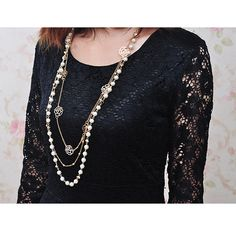 Be Gorgeous Luxury Lovely Charming Multilayer plated Gold Rose White simulated Pearl Flower Sweater Chains Necklace Party-in Chain Necklaces from Jewelry
