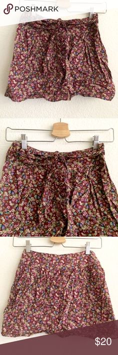 "New cotton floral belted tie mini skirt size 24 Listed as Ref for exposure, tag reads I ❤️ H 81. NWOT, never worn. Waist 13"" / length 14"" . Lined. Really cute. Reformation Skirts Mini"