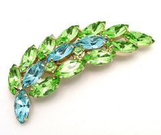 Vintage Rhinestone Leaf Brooch Pale Blue by ALLUWANTISHERETODAY, $25.00