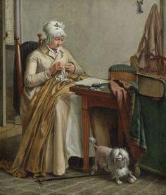 Interieur met naaiende vrouw, Wybrand Hendriks, ca. 1800 - ca. 1810 (https://www.rijksmuseum.nl)