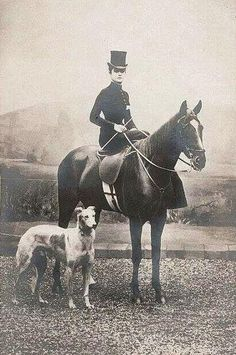 Victorian Era Hunt Photo - Woman in Riding Habit with Horse and Dog