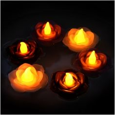Floating LED Wax Flowers (Flickering Amber) Set of 3