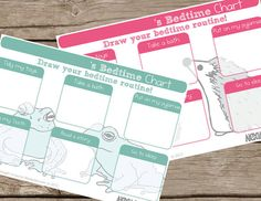 Children's Bedtime Routine chart - Cute hand drawn animal illustrated - 2 page chart set - Instant Download pdf