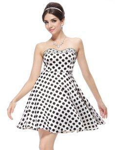 Amazon.com: Ever Pretty Crystal Beads Satin Polka Dots NWT Short Party Dress 03246: Clothing