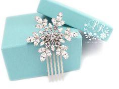 Wedding Hair comb Rhinestone snowflake hair by PureRainDesigns, $28.00