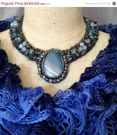 ON SALE Bead Embroidered Collar Unique Blue and by bjswearableart, $75.00