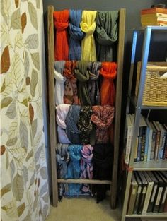 Upcycle a Ladder into a Scarf Organizer.