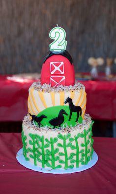 Farm party themed cake: http://www.prettymyparty.com/farm-animal-birthday-party/