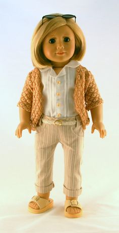 American Girl Doll Clothes - Striped Skinny Jeans, Pintucked Shirt, Crochet Lace Cardigan, and Belt. $34.00, via Etsy. (Jeans and cardi are LJ Pattern modifications)  So cute - must try this one!!!