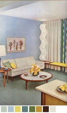 Inexpensive Home Decorating Ideas Mid Century Living Room, Mid Century Decor, Mid Century Furniture, Vintage Interior Design, Vintage Interiors, Colorful Interiors, Little Dream Home, Retro Home, Retro 4