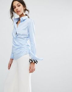4750b5fccb81ca Sportmax Code Stripe Shirt with Wrap Front