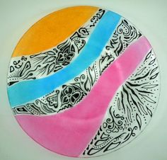 Hand painted modern glass plate  Black by CreationsdeFlorence, $32.00
