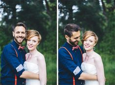 hipster couple wedding + red suspenders + short hair style bride