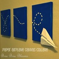 I love this! Paper Airplane Canvas Collage  Going to ask my grandson to make the airplane then surprise him  with the wall hanging for his bedroom (with his paper airplane attached of course)! :) would be cute to make this say love