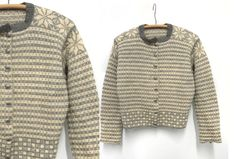 Early Winter Special off - Vintage Handknit Norwegian Wool Cardigan (Cream, Grey) Fair Isle Knitting, Hand Knitting, Knit Patterns, Clothing Patterns, Norwegian Knitting, Hand Knitted Sweaters, Siri, Vintage Knitting, Wool Cardigan