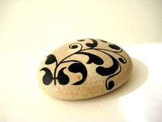 Painted Stone - Painted Rock - Original hand painted Black  upcycled White Stone