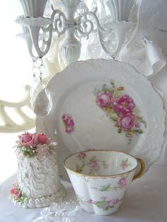 French Rose Teacup Limoges Hand painted