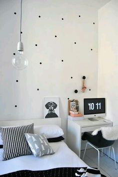 polka dot bedroom/office hybrid
