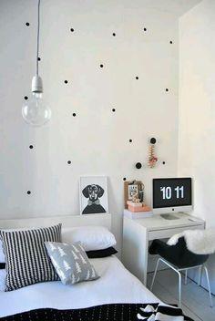 polka dot bedroom/office hybrid