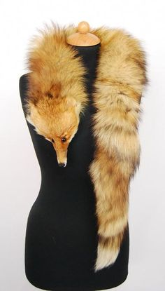 Vintage Fox Fur Stole With Head And Tail Mouths Vintage